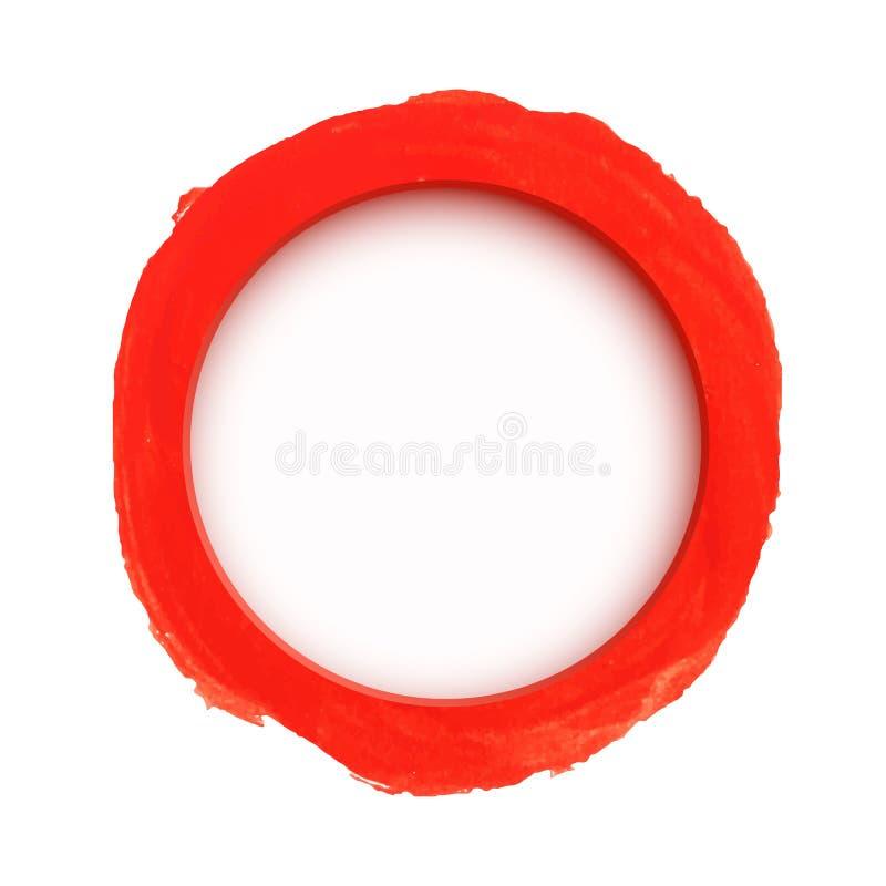 Bandera roja redonda de la acuarela stock de ilustración
