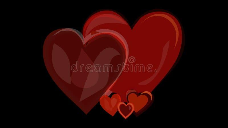 Bandera romántica del amor con los corazones brillantes rojos en fondo negro Concepto cada vez mayor de la pasión Ilustración del stock de ilustración