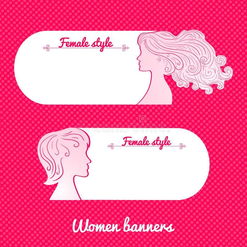Bandera romántica femenina hermosa del vector dos libre illustration