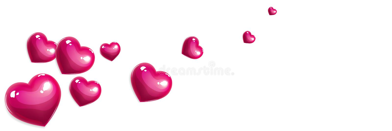 Bandera rosada de los corazones del amor stock de ilustración