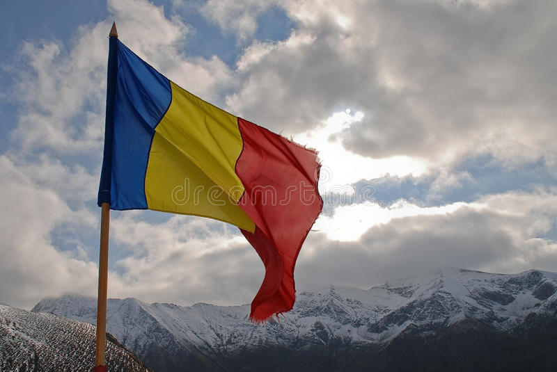 Bandera rumana Cárpatos fotografía de archivo libre de regalías