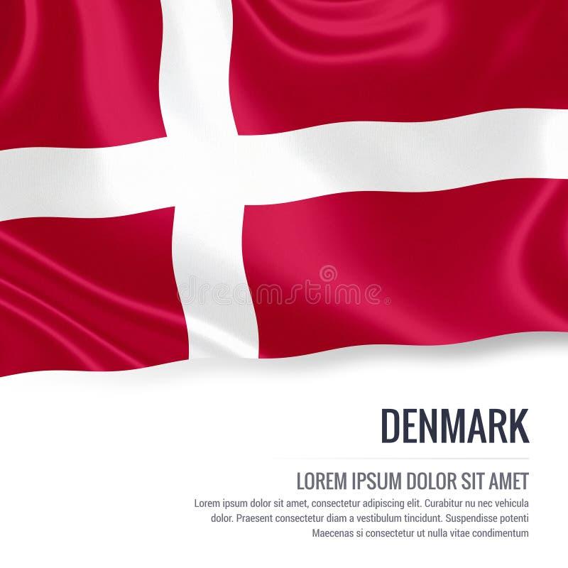 Bandera sedosa de Dinamarca que agita en un fondo blanco aislado con el área de texto blanca para su mensaje del anuncio libre illustration