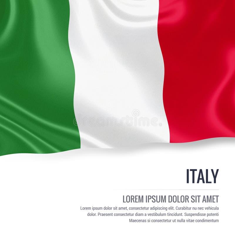Bandera sedosa de Italia que agita en un fondo blanco aislado con el área de texto blanca para su mensaje del anuncio stock de ilustración