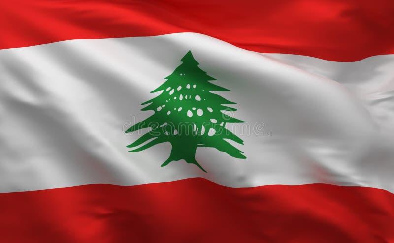 Bandera simple de Líbano, colores nacionales libaneses, 3d rendir stock de ilustración