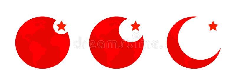 Bandera simple del botón del vector - Turquía ilustración del vector
