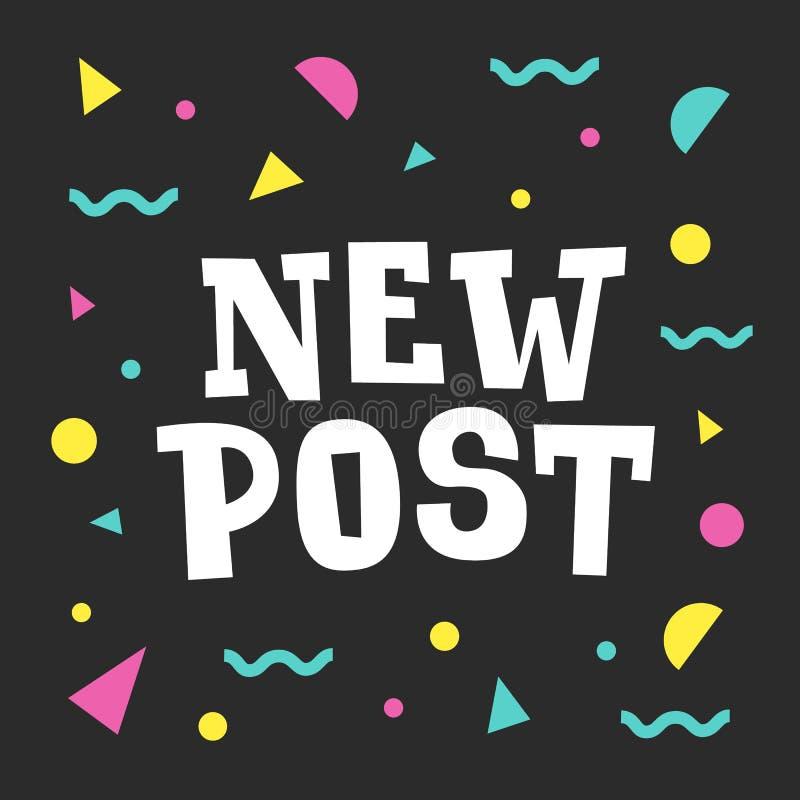 Bandera social de los medios del nuevo poste con el fondo abstracto colorido Concepto del compromiso de los seguidores libre illustration