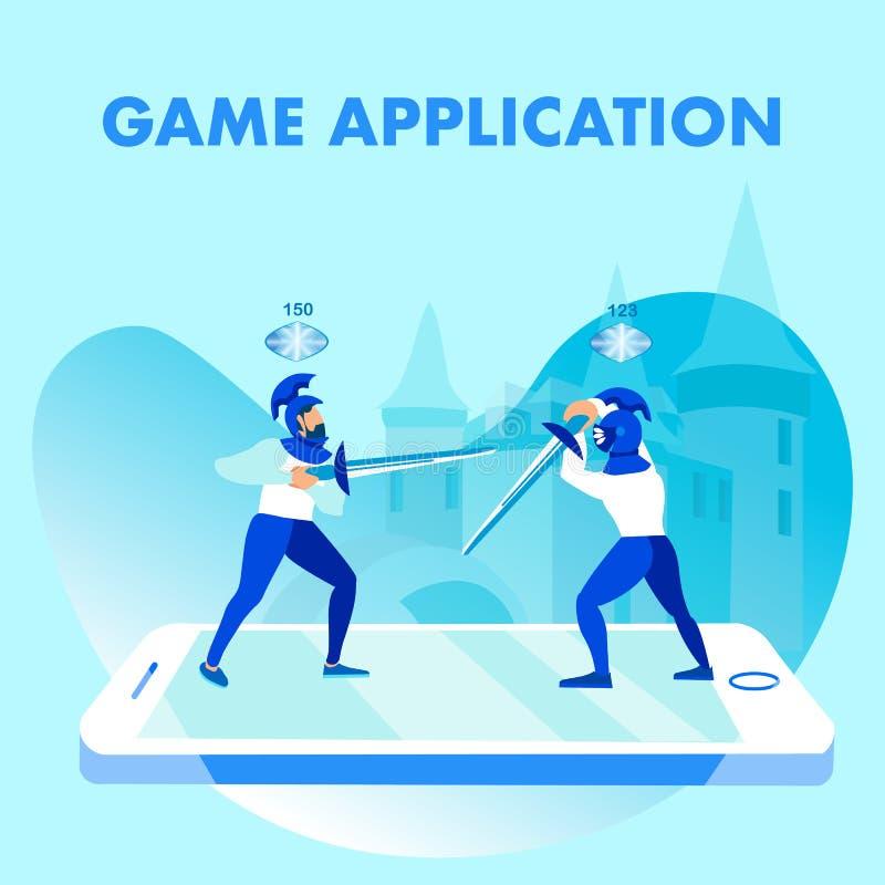 Bandera social del juego del vector móvil del uso medios stock de ilustración