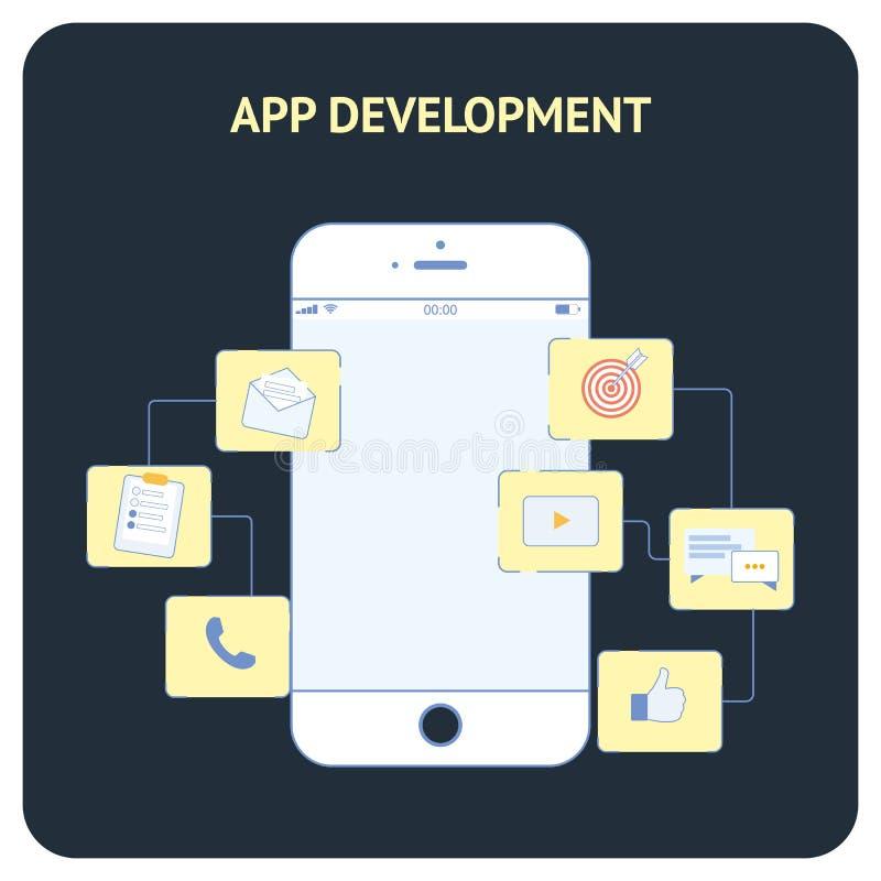 Bandera social del vector plano del desarrollo del App medios stock de ilustración