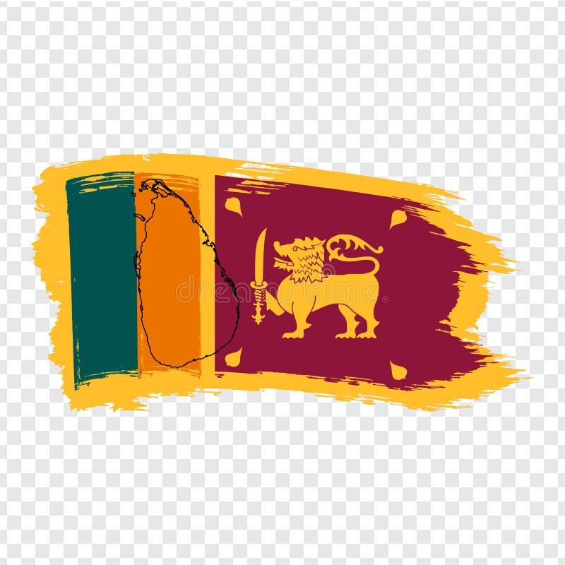 Bandera Sri Lanka de los movimientos y del mapa en blanco Sri Lanka del cepillo Mapa de alta calidad de Sri Lanka y de la bandera libre illustration