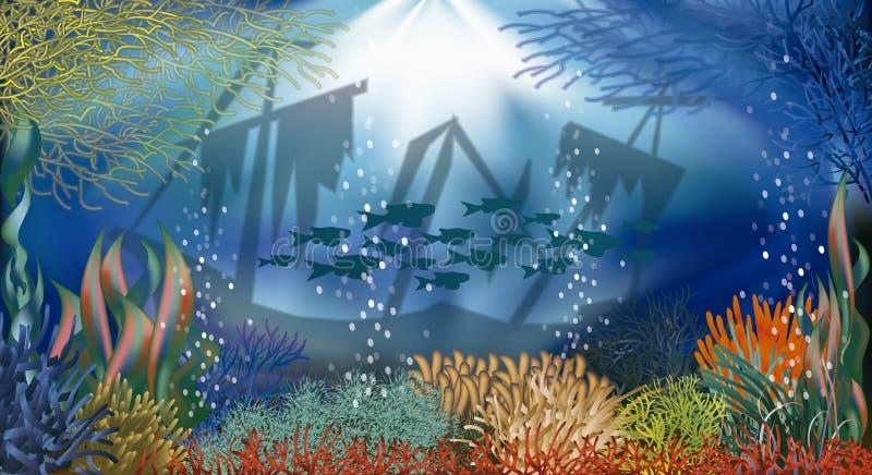 Bandera subacuática stock de ilustración