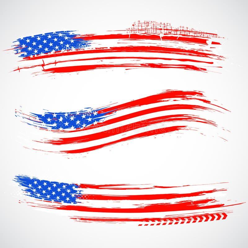 Bandera sucia de la bandera americana stock de ilustración