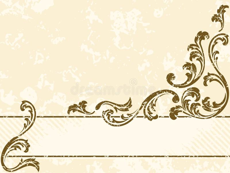 Bandera sucia de la sepia de la vendimia, horizontal stock de ilustración