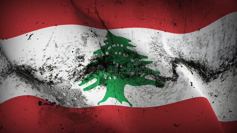 Bandera sucia del grunge de Líbano que agita en el viento libre illustration