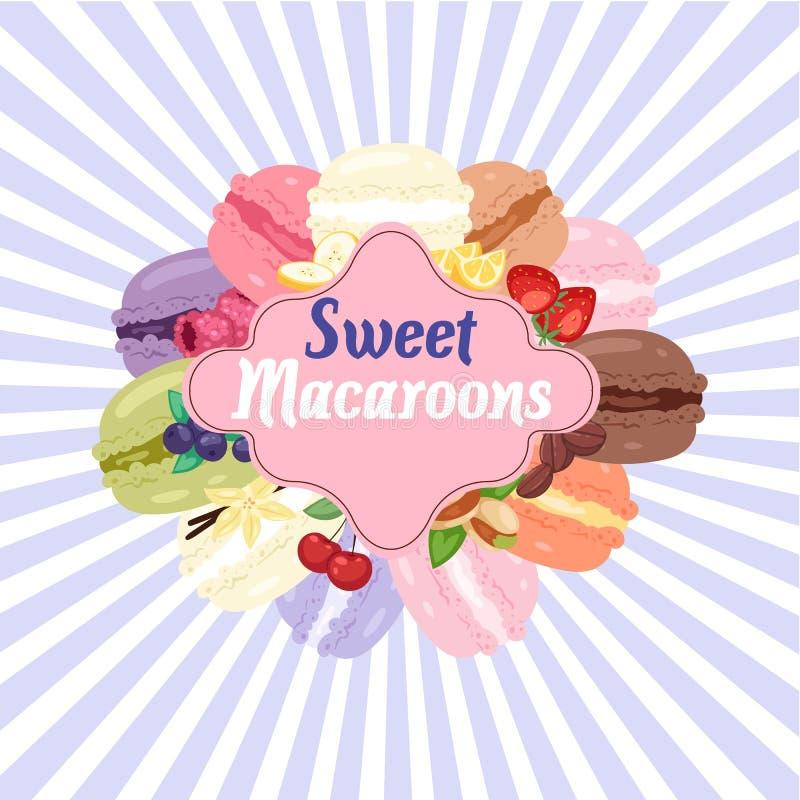 Bandera superior de la tienda de la panadería de los macarrones dulces, ejemplo del vector del cartel Galletas de diverso gusto d ilustración del vector