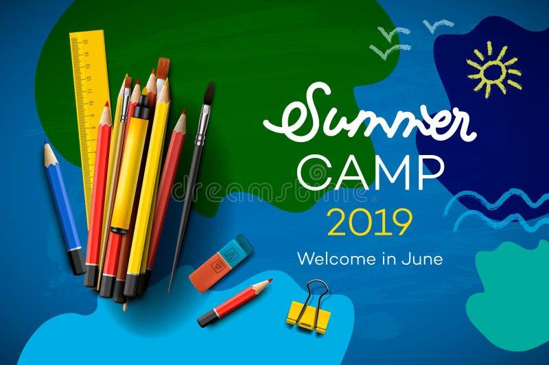 Bandera temática del cartel 2019, creativo del campamento de verano y colorido, ejemplo del vector stock de ilustración
