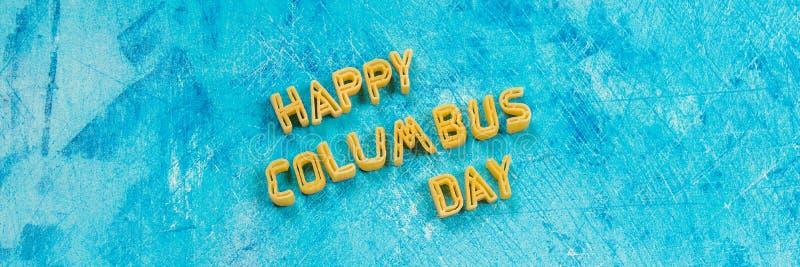 bandera Texto feliz de Columbus Day Concepto del día de fiesta de los E.E.U.U. El descubridor de América Estados del día de fiest fotos de archivo