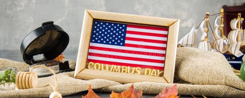 bandera Texto feliz de Columbus Day Concepto del día de fiesta de los E.E.U.U. El descubridor de América Estados del día de fiest imagen de archivo libre de regalías