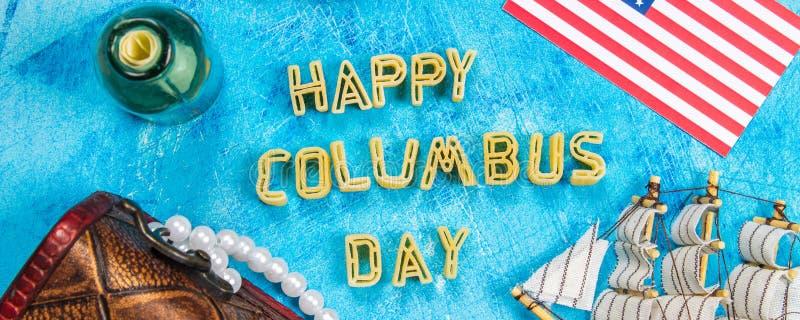 bandera Texto feliz de Columbus Day Concepto del día de fiesta de los E.E.U.U. El descubridor de América Estados del día de fiest imagenes de archivo