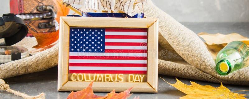 bandera Texto feliz de Columbus Day Concepto del día de fiesta de los E.E.U.U. El descubridor de América Estados del día de fiest fotografía de archivo libre de regalías