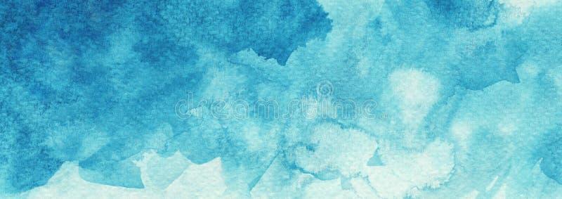 Bandera texturizada turquesa azul azul de la web del fondo de la acuarela del extracto stock de ilustración