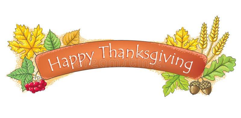 Bandera thanksging feliz ilustración del vector