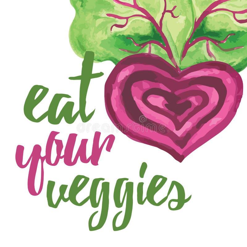 Bandera tipográfica con remolachas dibujadas mano Coma sus veggies ilustración del vector