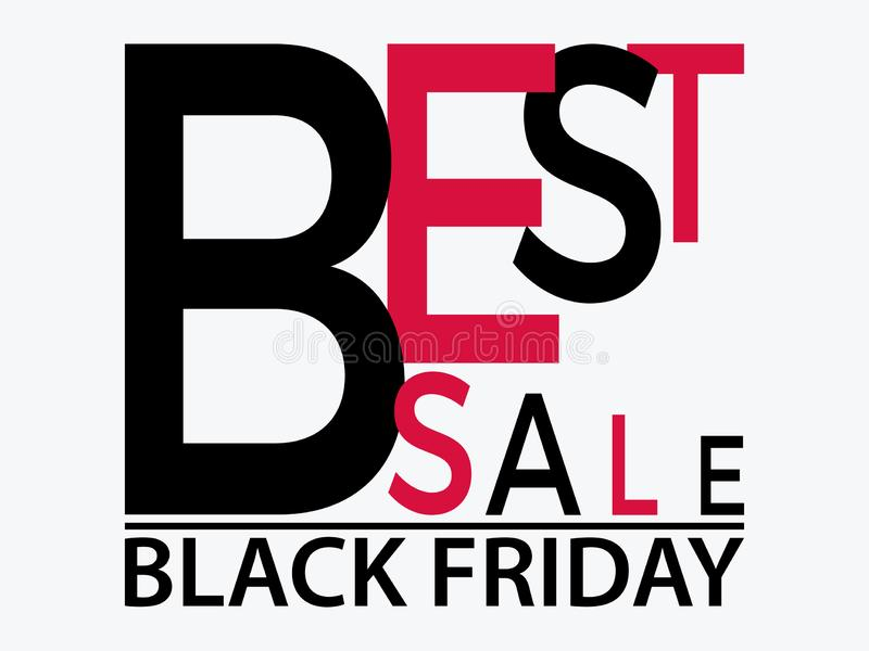 Bandera tipográfica negra de viernes con el texto La mejor venta Vector stock de ilustración