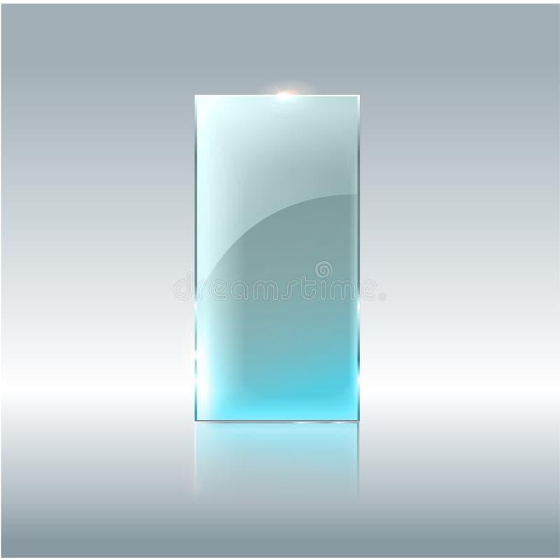Bandera transparente de cristal Vector las placas de cristal con un lugar para las inscripciones aisladas en fondo transparente p libre illustration