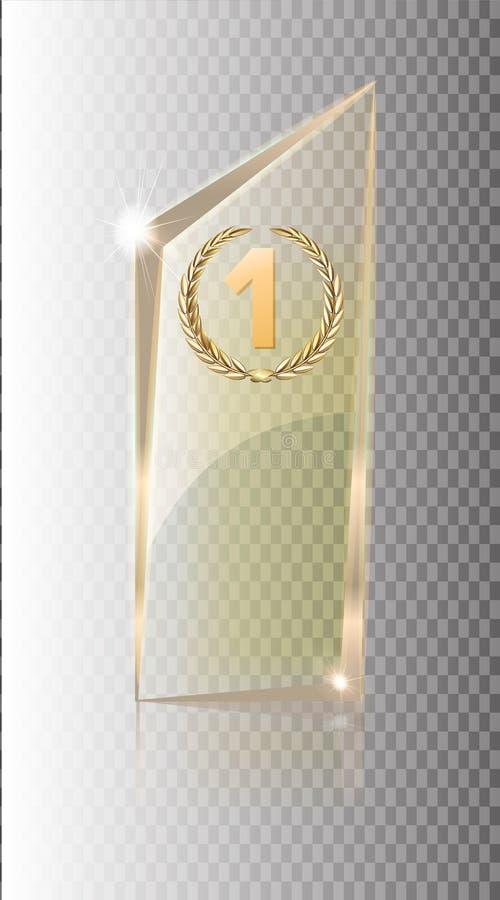 Bandera transparente de cristal Vector las placas de cristal con un lugar para las inscripciones aisladas en fondo transparente p stock de ilustración