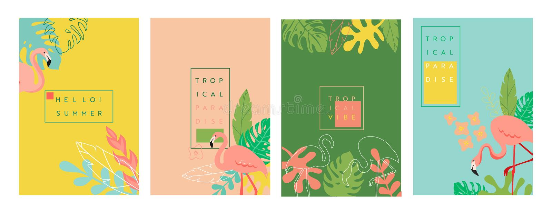 Bandera tropical abstracta con el lugar para el texto, fondos vibrantes brillantes del verano, carteles, plantillas del dise?o de stock de ilustración