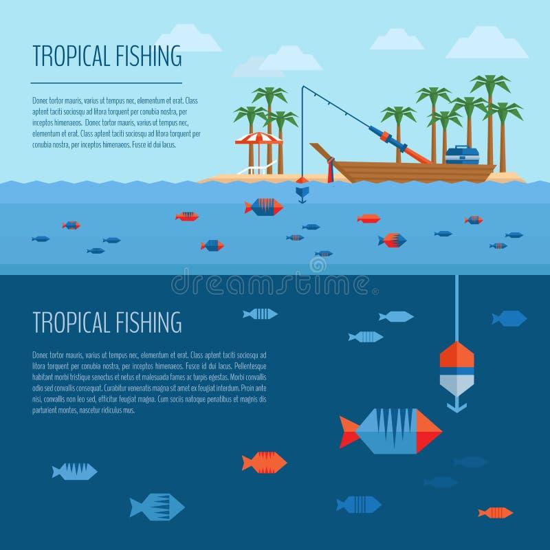 Bandera tropical de la pesca Concepto de la pesca de la estación de verano Pesca stock de ilustración
