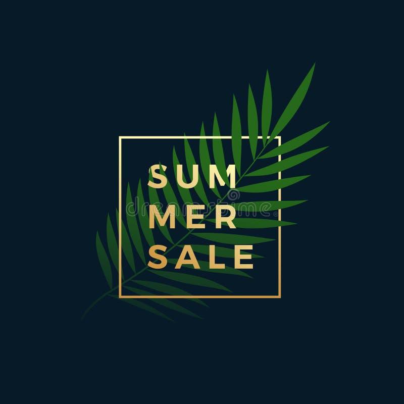 Bandera tropical de la venta del verano Fern Palm Leaf In un marco de oro con tipografía moderna Muestra de la oferta especial de libre illustration