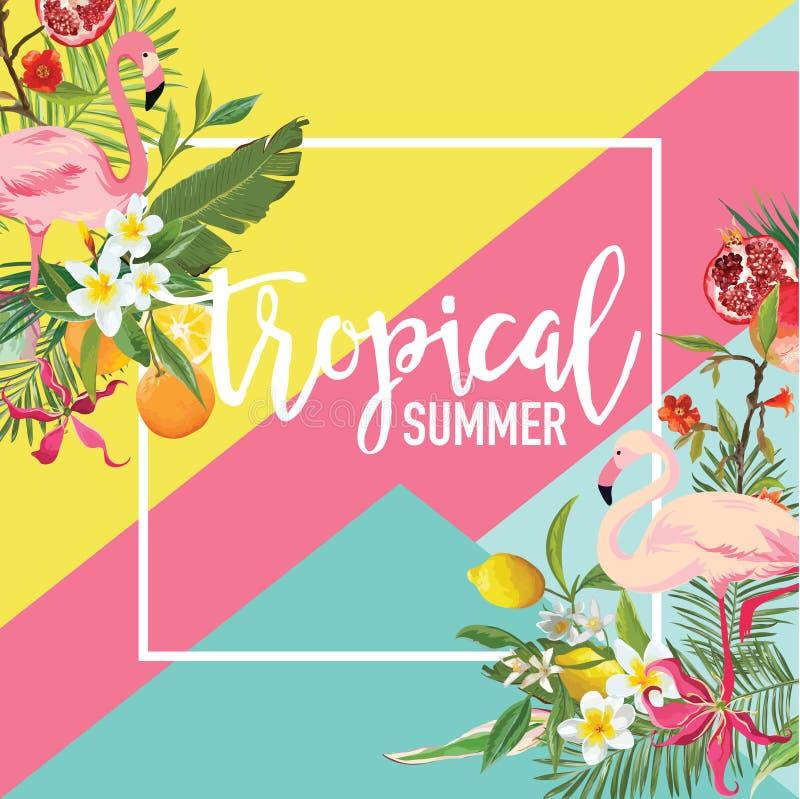 Bandera tropical del verano del limón, de las frutas de la granada, de las flores y de los pájaros del flamenco, fondo gráfico ilustración del vector