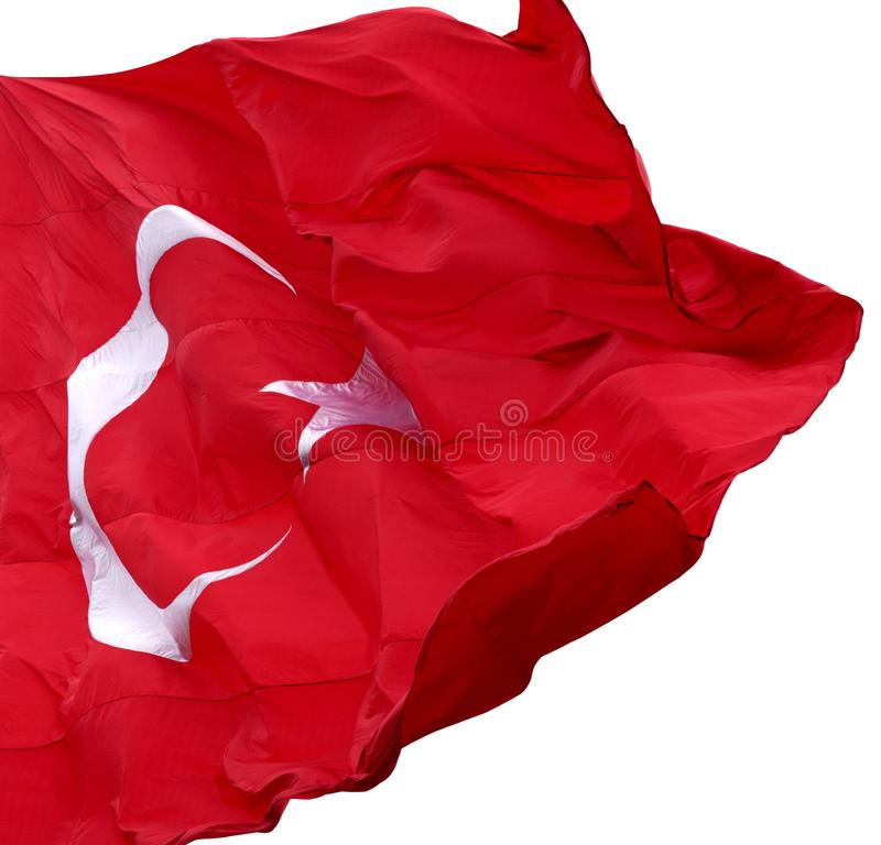 Bandera turca que agita en día ventoso imagen de archivo libre de regalías
