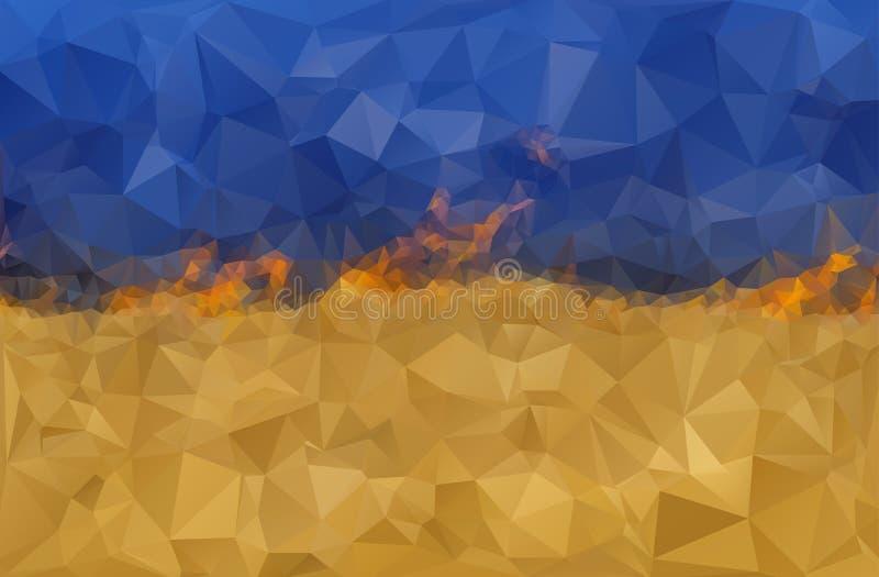 Bandera ucraniana estilizada en el fuego foto de archivo