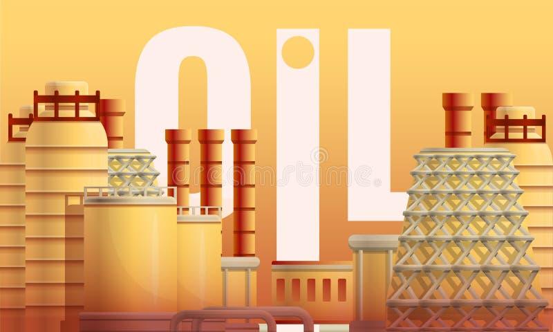 Bandera urbana del concepto de la refinería del aceite, estilo de la historieta libre illustration
