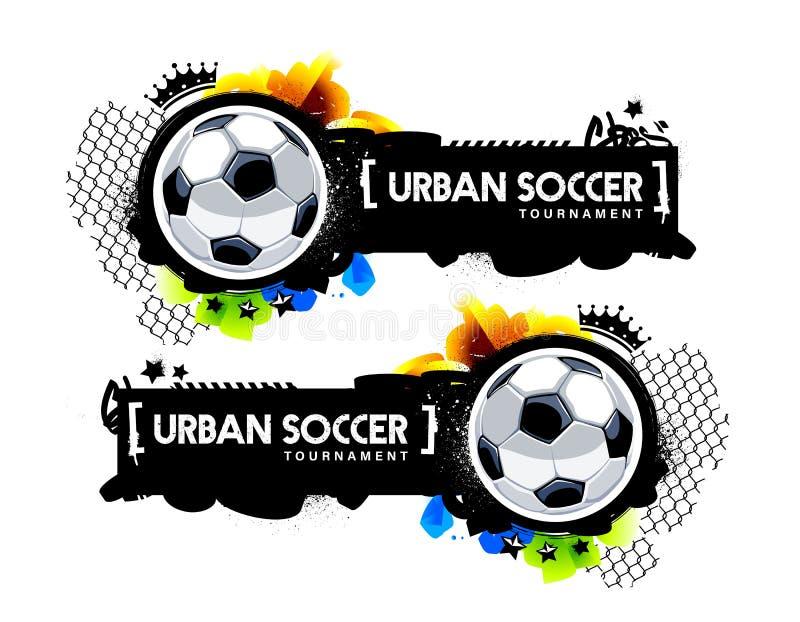 Bandera urbana del fútbol del estilo de la pintada ilustración del vector