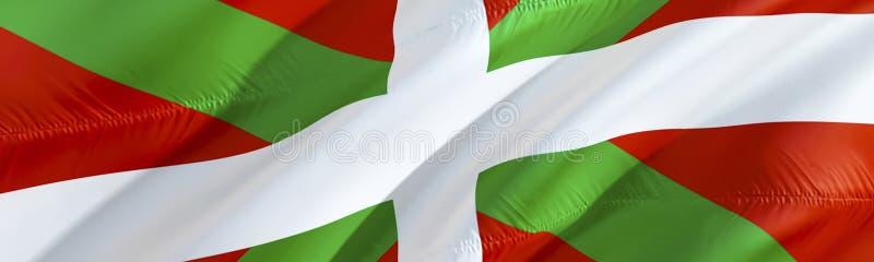 Bandera vasca Bandera de Ikurrina diseño de la bandera que agita 3D, representación 3D El símbolo nacional del papel pintado del  foto de archivo