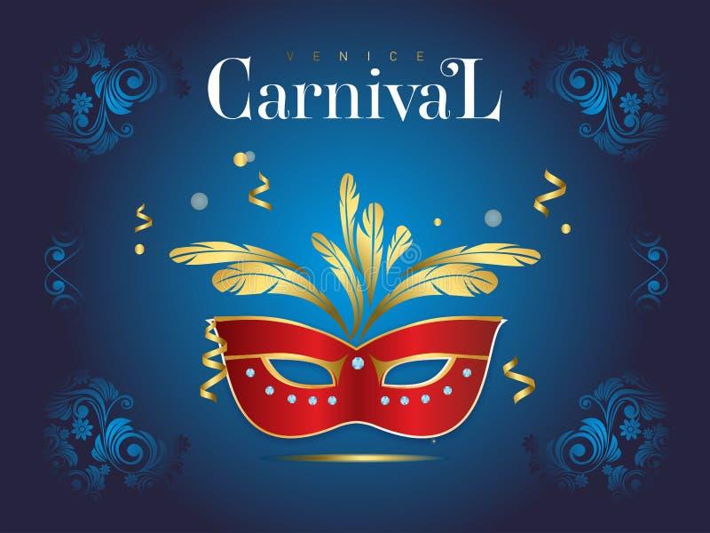 Bandera veneciana del carnaval con una máscara lujosa y flámulas en el ejemplo del vector stock de ilustración