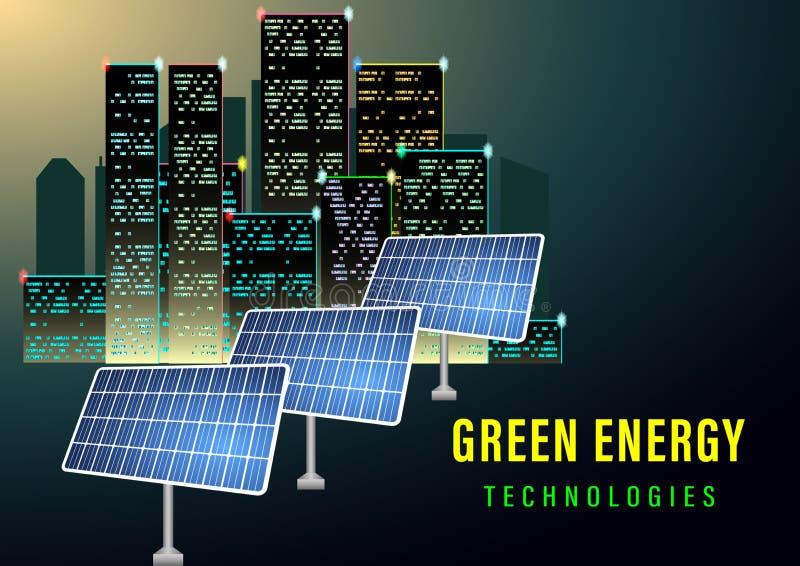 Bandera verde de la energ?a stock de ilustración