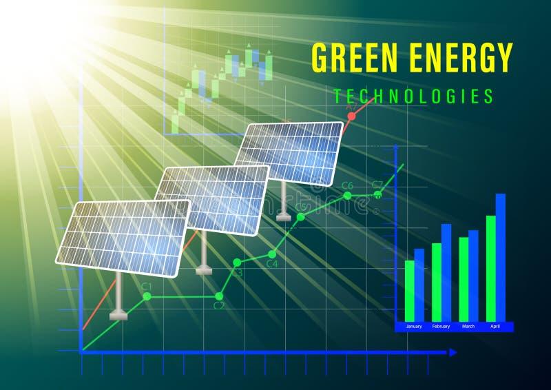 Bandera verde de la energ?a libre illustration