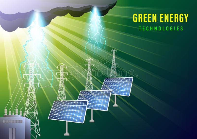 Bandera verde de la energ?a ilustración del vector