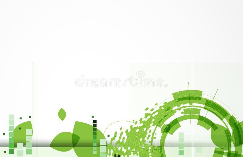 Bandera verde de la tecnología del web del hexágono y de la hoja de la ecología ilustración del vector