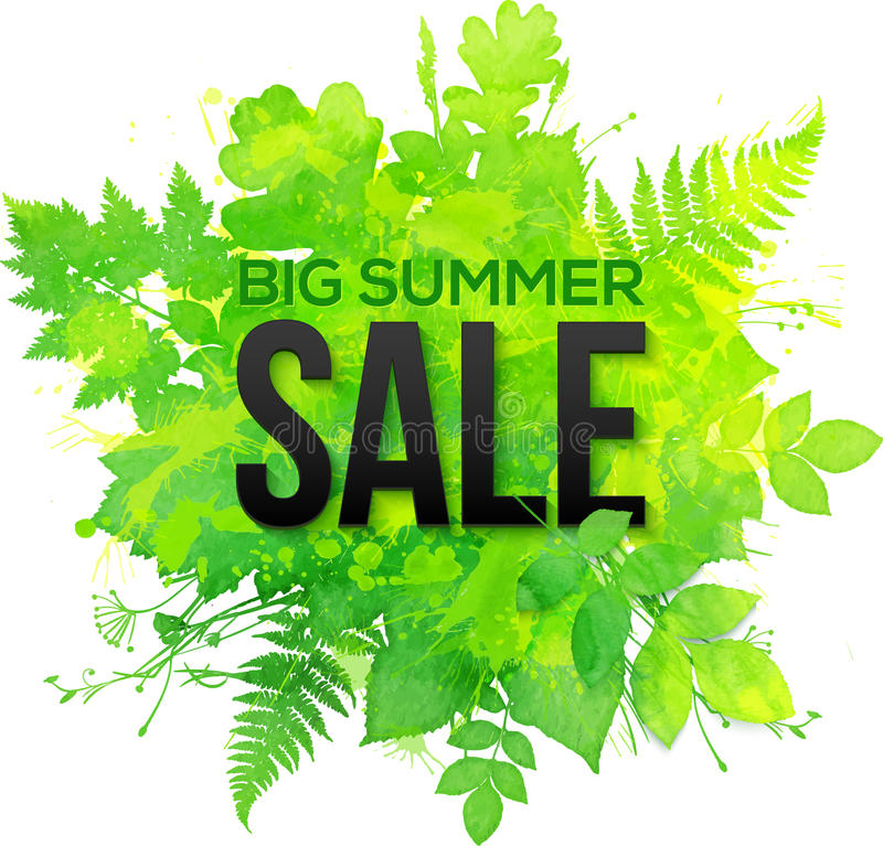 Bandera verde de la venta del verano de los tréboles de la acuarela stock de ilustración