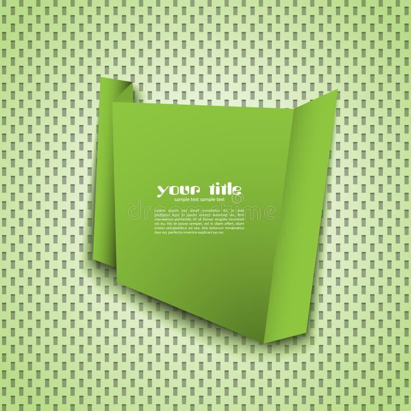 Bandera verde del origami ilustración del vector