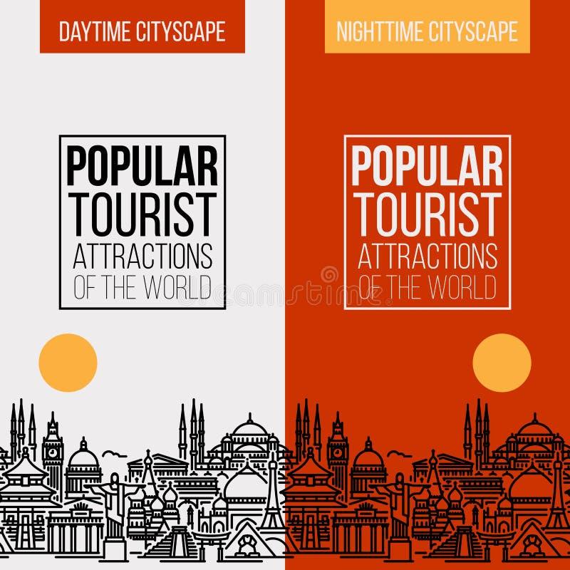 Bandera vertical con el paisaje urbano de las atracciones turísticas más populares del mundo Línea plana moderna ejemplo inconsút stock de ilustración
