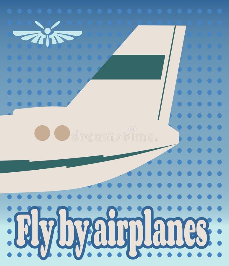 Bandera vertical con la imagen de una cola del aeroplano stock de ilustración