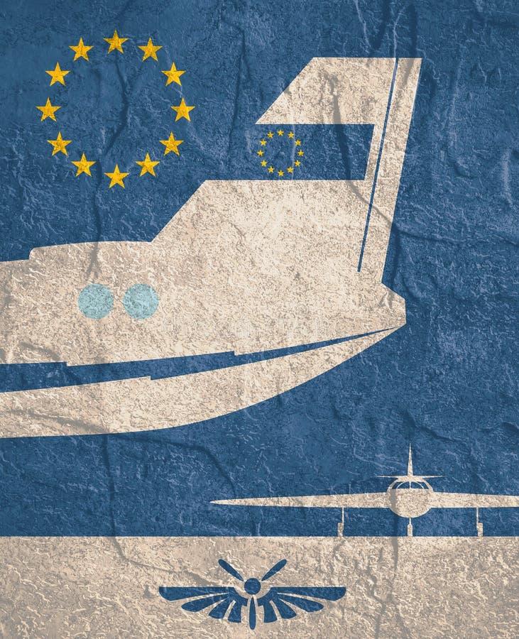 Bandera vertical con la imagen de una cola del aeroplano ilustración del vector