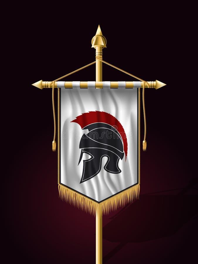 Bandera vertical de la bandera festiva con el casco del guerrero stock de ilustración