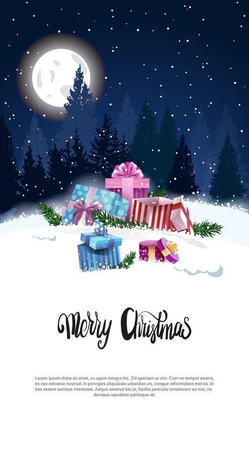 Bandera vertical de la Feliz Navidad con las actuales cajas en el invierno Forest At Night Holiday Flyer Nevado con el espacio de stock de ilustración